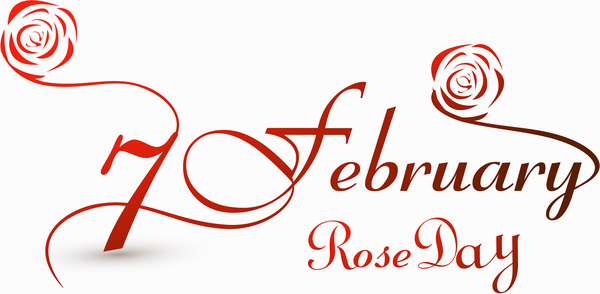 Rose day 7 february for valentine week stylish text colorful vec